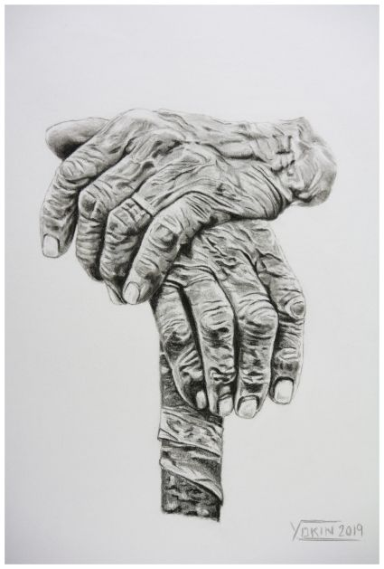 HANDS - Charcoal Painting by Yokin.