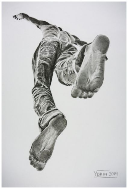 STEPS - Charcoal Painting by Yokin.